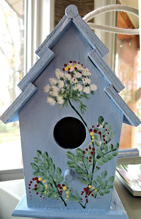 Wooden Birdhouse Stenciled Paint Free Photo On Pixabay