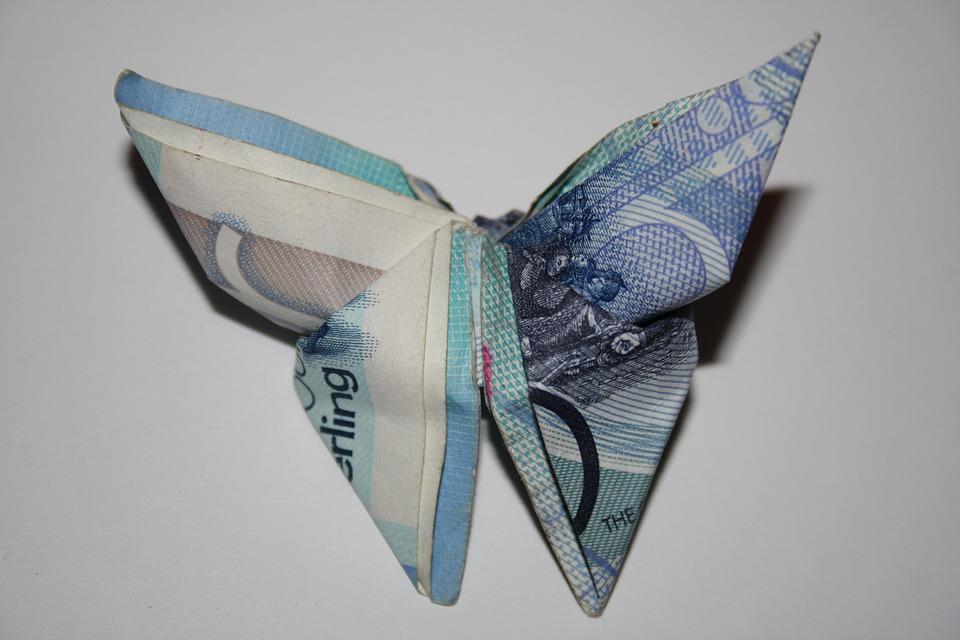 Libra, Gibraltar, Dinero, Moneda, Mariposa, Origami