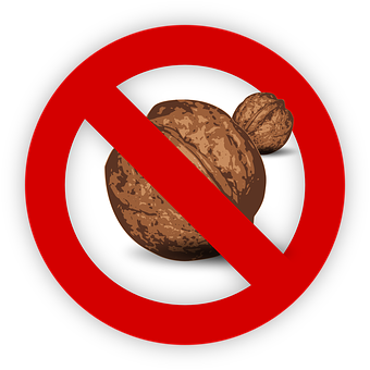 Tree Nut Allergy Food Allergen Walnut Sign