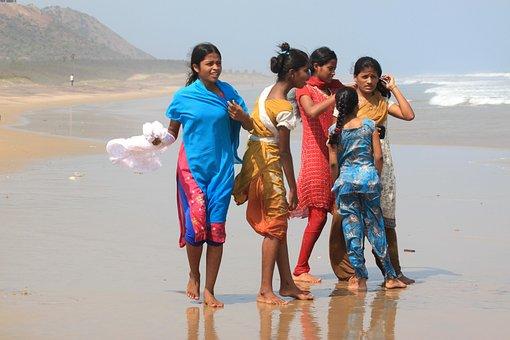 Cô Gái, Bãi Biển, Ấn Độ, Nữ, Biển, Gió