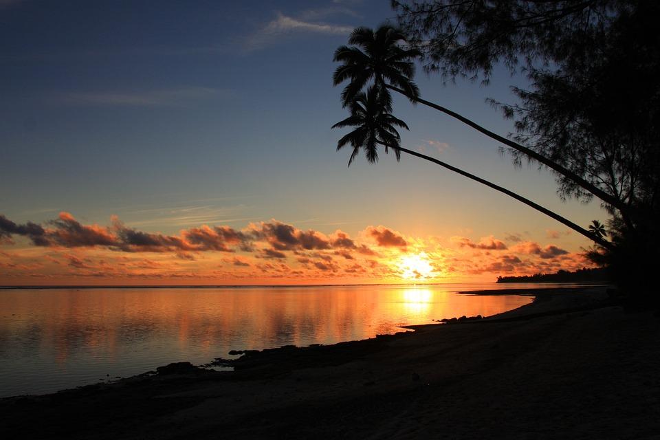 Sunset at the island of Rarotonga