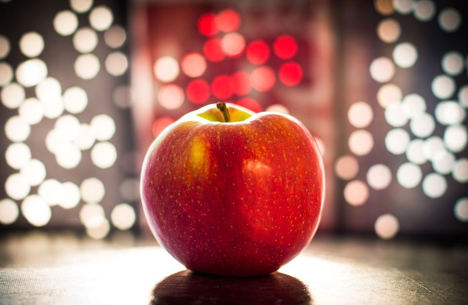 アップル, ボケ味, フルーツ, 夜の明かり