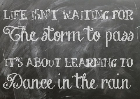 Life isn't waiting for the storm to pass... written on a blackboard for 301 inspirational and motivational quotes