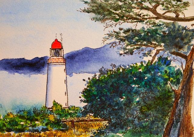 Illustration Gratuite Aquarelle Phare Couleur Image
