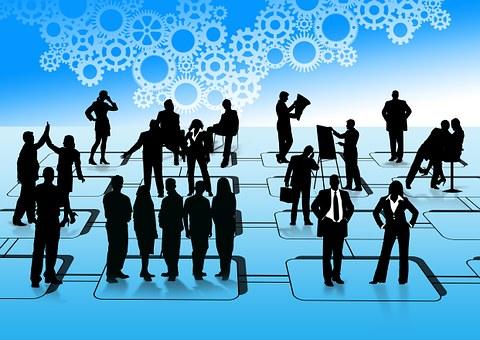 Empresários, Silhuetas, Homem, Mulher