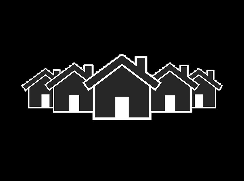 Line Art Village : Ilustración gratis icono pueblo aldea imagen