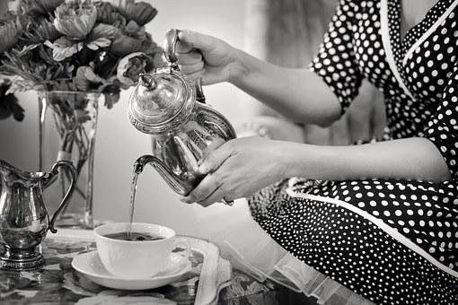 Tea Party, Tea, Black And White, Teapot