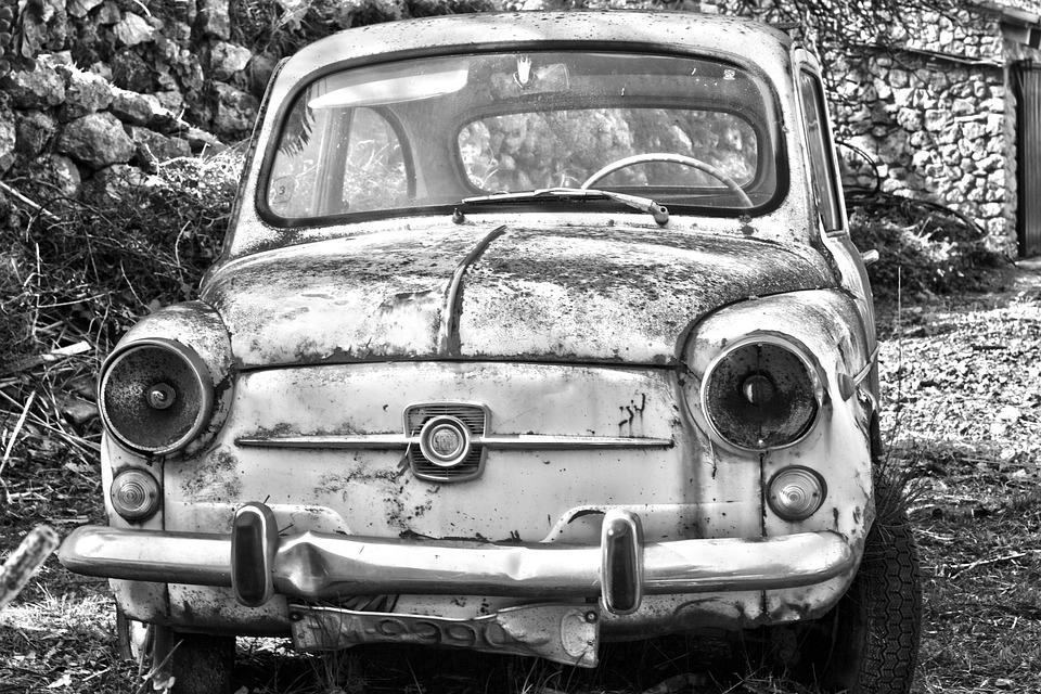 abandoned car antique car car