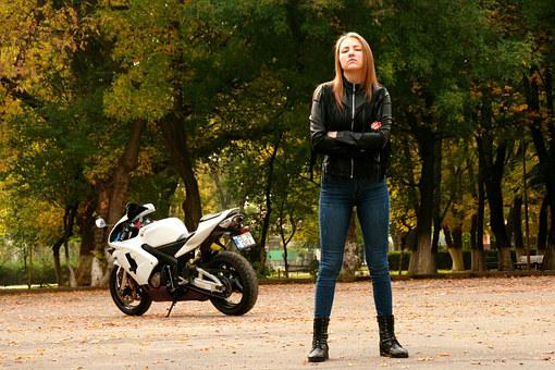 Girl Motorcycle Leather Jacket Ride Biker