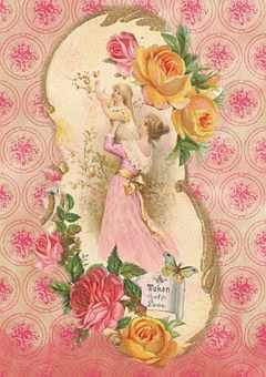 Greeting Card, Vintage, Rose, Old