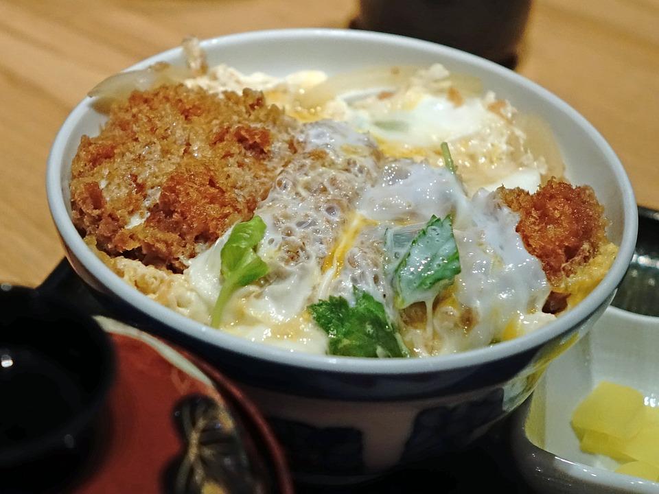 日本, 豚肉, カツ丼, 揚げ, 卵, 米, ボウル, レストラン, アジア, おいしい, タマネギ