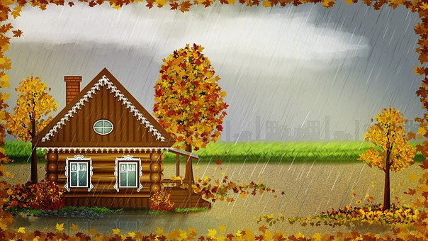 Autumn, Landscape, Home, Rural, Rain