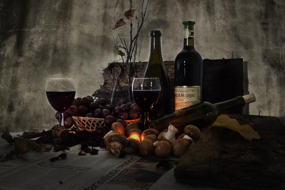 free photo  still life  wine  bottles  cup
