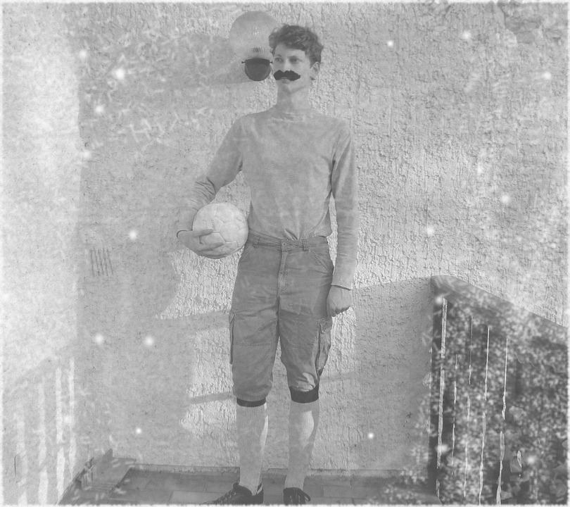 Football, Old Fashioned, 19, Century, Moustache, Ball