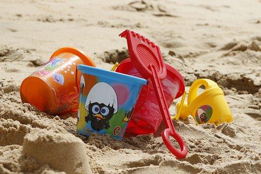 Bucket, Toys, Sand, Beach, Ocean