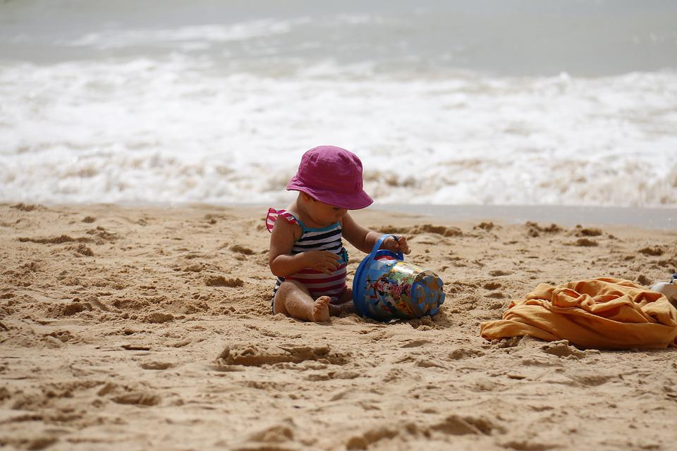 Child Playing, Beach, Bucket, Sand, Kids, Playing, Play