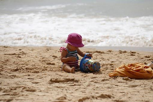 Child Playing, Beach, Bucket, Sand, Kids