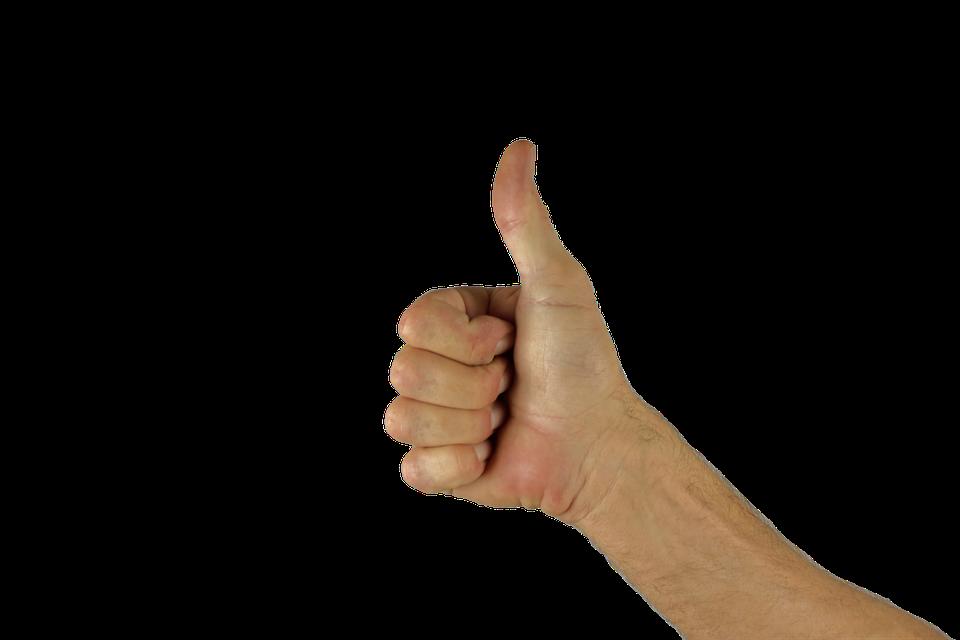 親指を立てる、親指、手、ポジティブ、エクセレント、グレート