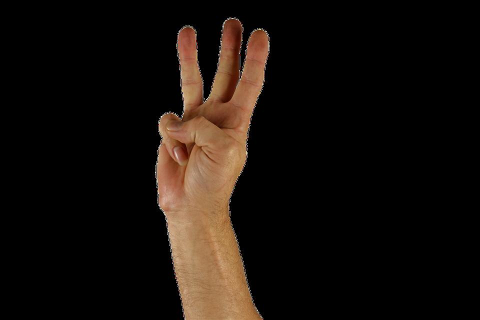手, 指, 3, 手話