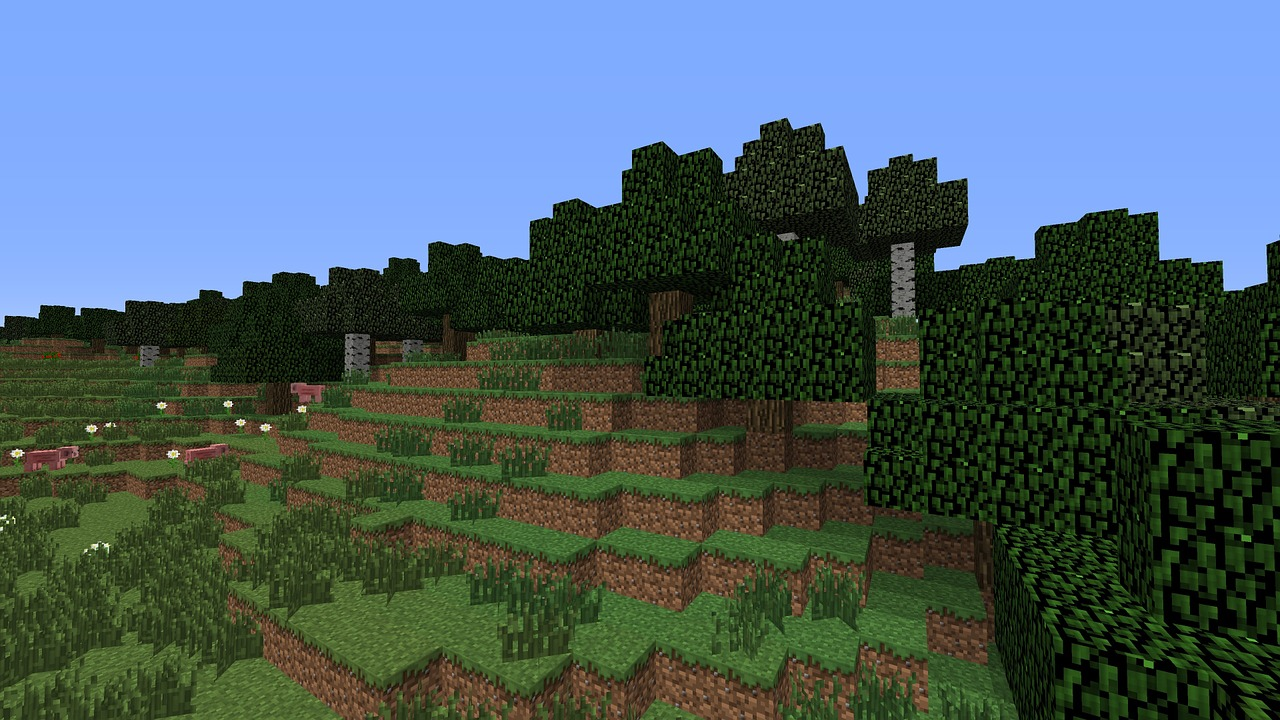 A scene of a meadow from the computer game, Minecraft.
