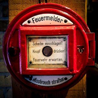 Feuermelder, Feuerwehr, Rot, Alarm