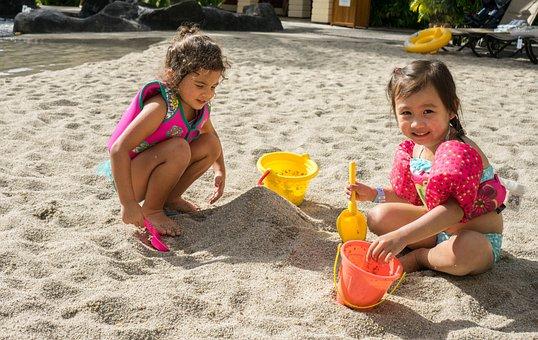 Children, Beach, Playing, Sand, People