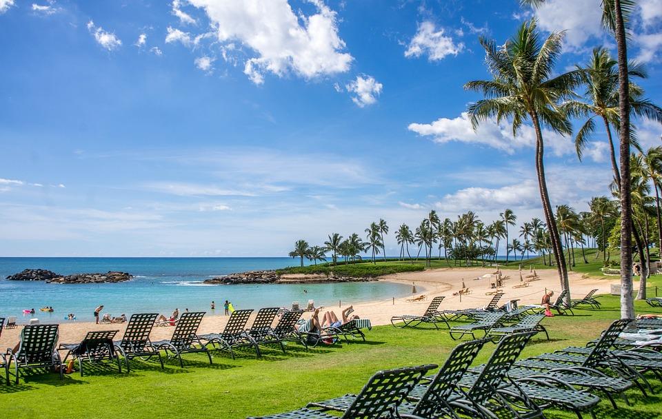 ラグーン, コオリナ, ハワイ, オアフ島, 海, 雲, 海岸, 風景, 熱帯, パーム, リゾート, 水