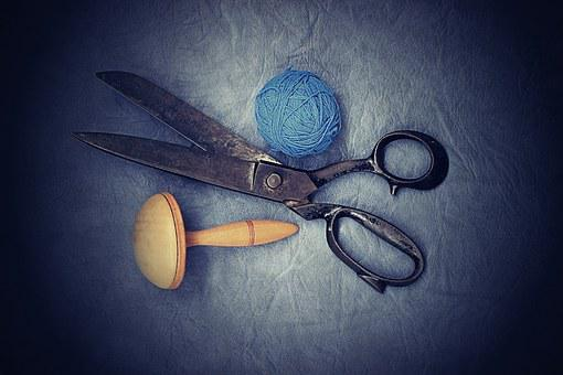 Scissors, Old, Sewing, On Peace, Work