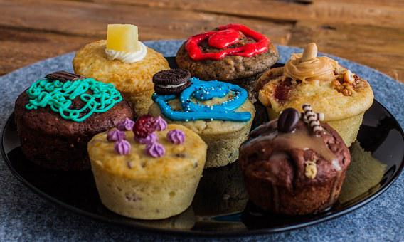 Muffins, Colorful, Decorated, Pastries