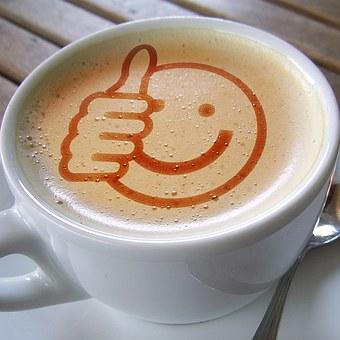 カップ, コーヒー, ような, 親指, 高, 泡, カフェオレ, 笑顔, 笑う