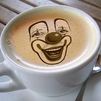 Cup, Coffee, Clown, Clown Face, Face