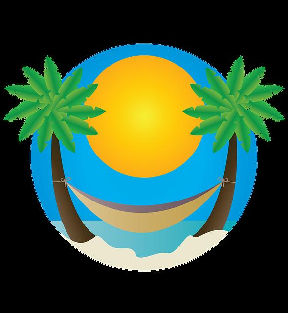 Gratis illustratie strand palmbomen hangmat gratis for Credence en verre transparent cuisine