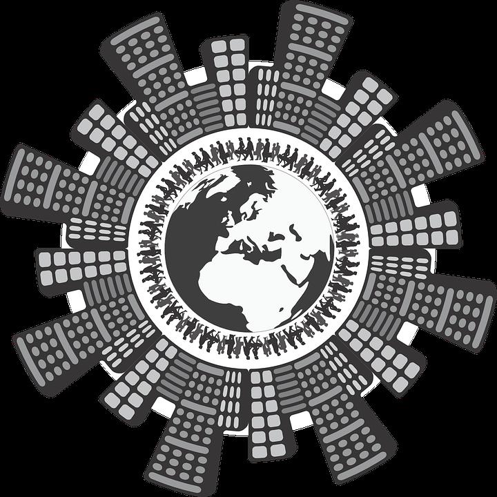 Globus Tłum Skyline Darmowa Grafika Wektorowa Na Pixabay