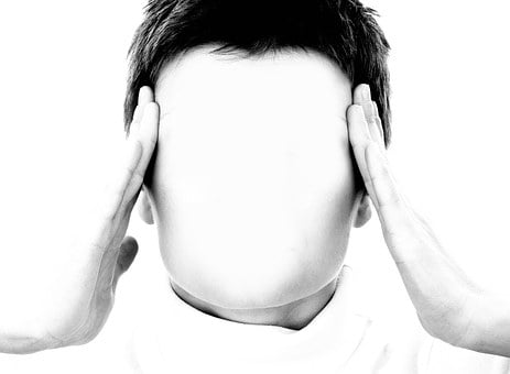 顔, 女性, マスク, 手, ストレス, 頭痛, 自己, 非表示, シルエット