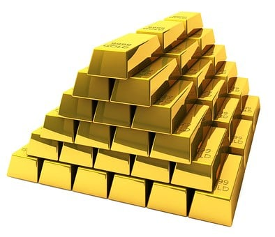 Gold, Bullion, Bars, Feingold, Bank