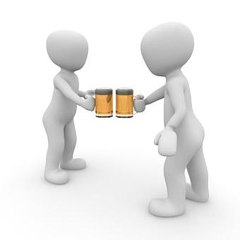 Bier, Prost, Anstoßen, Weizenglas