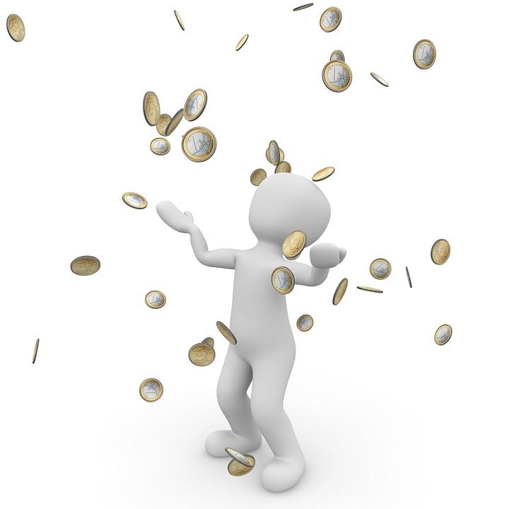 金雨, ユーロ, 銀行, お金, お金を祝福, 経済, Dollar, フォワード, 通貨