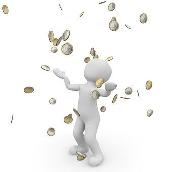 金雨, ユーロ, 銀行, お金, お金を祝福, 経済, Dollar