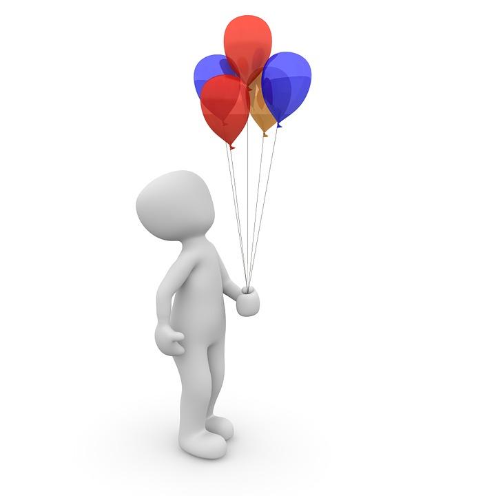 Luftballon, Bunt, Schweben, Ballons, Geburtstag, Lustig