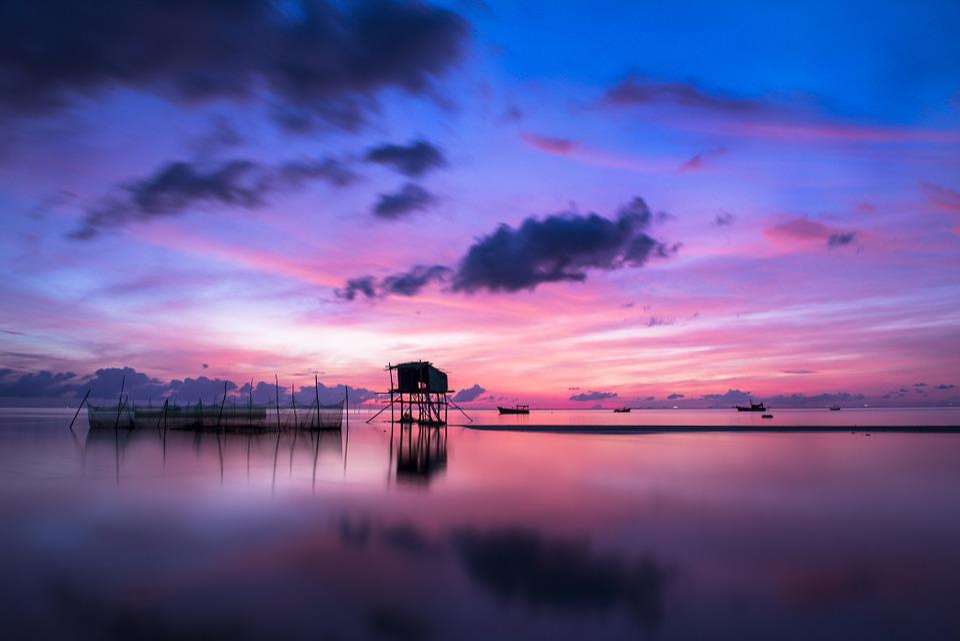 Sunrise, Mar, Calma, Tranquilo, Azul, Lago, El Agua