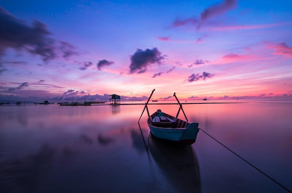 日の出, ボート, 手漕ぎボート, 誰も, 穏やかな, 静かな, 青, 海, 湖, 水, プーのコック, 空