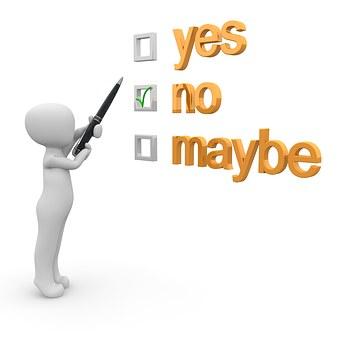 はい, いいえ, 多分, チェックリスト, 機会, 代替, 同意, ボックス