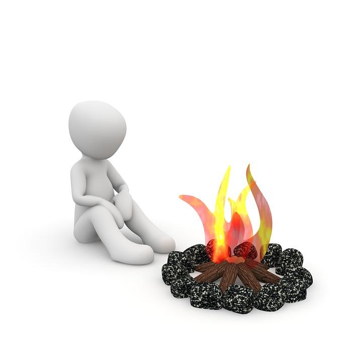 Lagerfeuer, Warm, Alleine, Nacht, Kamin, Wärme, Flammen