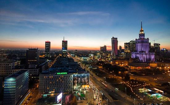 Warsaw, Night, Poland, City, Europe