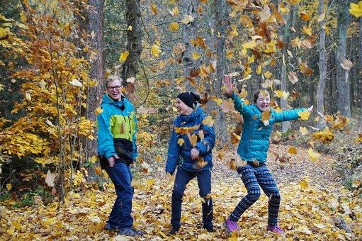Herbst, Blätter, Freude, Kinder