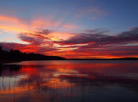 极光, 天空, 湖, 水, 景观, 名胜, 性质, 自然照片, 风景照片, 云
