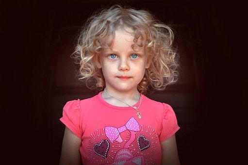 Girl, Child, Portrait, Pink, Blonde