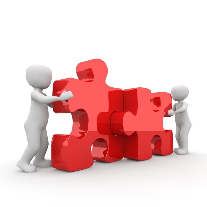 Puzzel, Zusammenarbeit, Partnerschaft, Miteinander