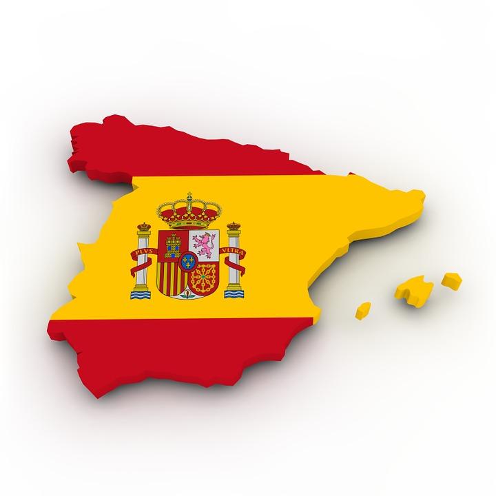 Carte, Espagne, Drapeau, Frontières, Pays