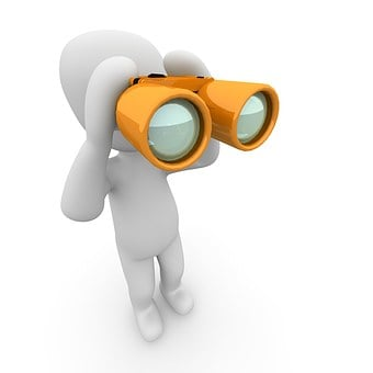 A mascot searching with binoculars to signify Online value proposition 3: Find out what your target audience wants